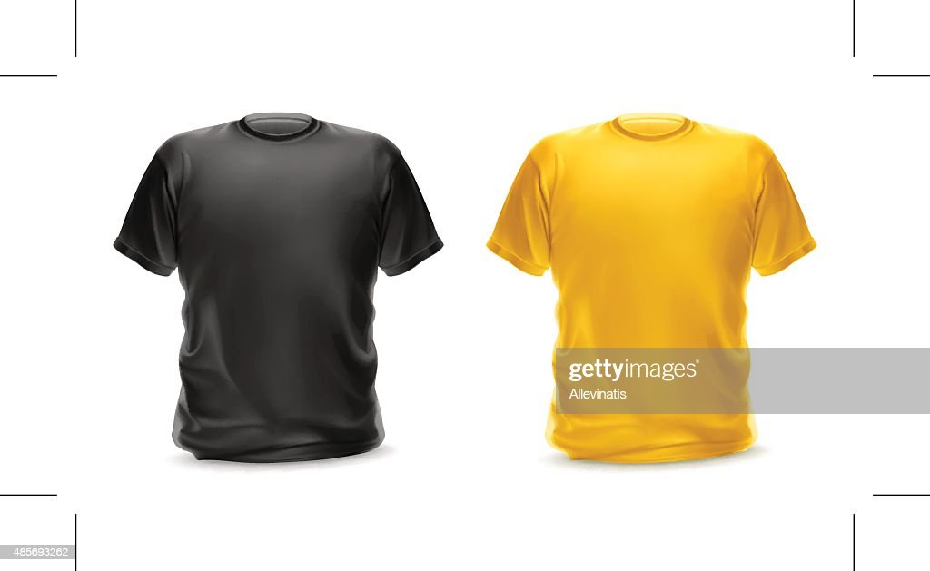 T-shirt black and yellow color, vector isolated object
