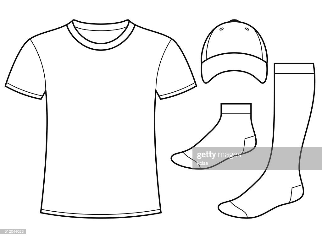 tshirt cap and socks template vector art | getty images