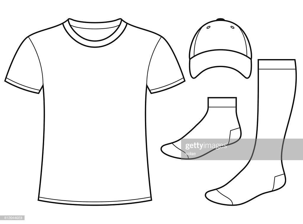 T-shirt, Cap and Socks template