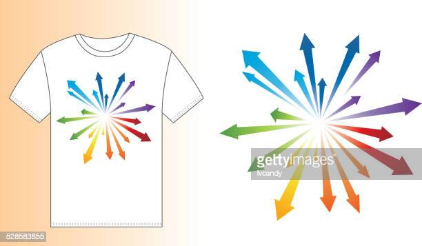 t-shirt design (blast arrow) - printed sleeve stock illustrations