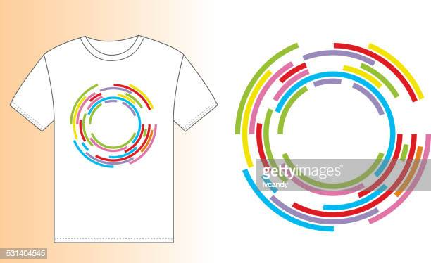 t-shirt design (colorful rings) - printed sleeve stock illustrations