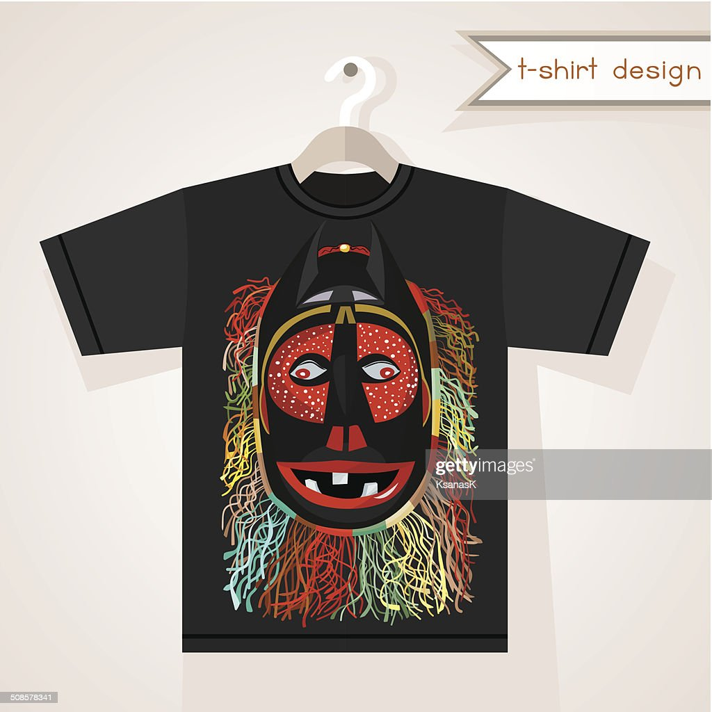T-Shirt Design With African Mask : Vector Art