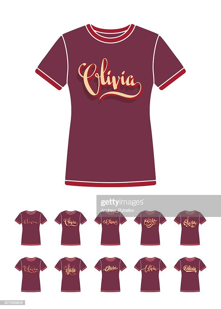 tshirt design with the personal name olivia vector art getty images