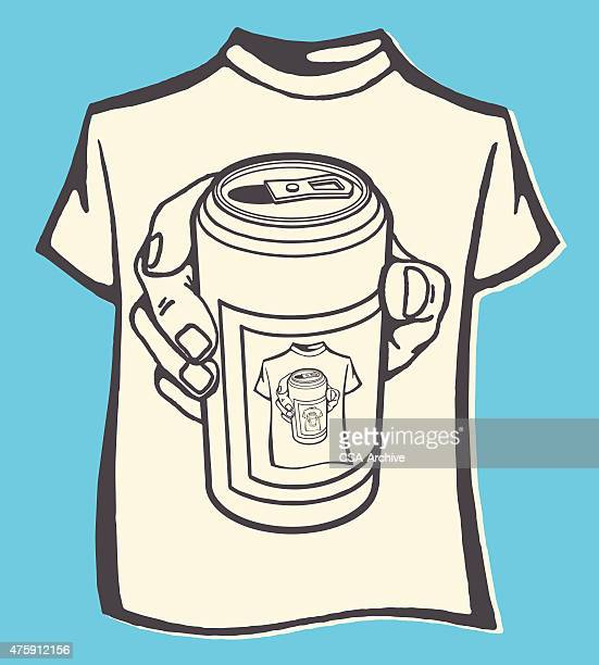 t-shirt of beer can - stag night stock illustrations, clip art, cartoons, & icons