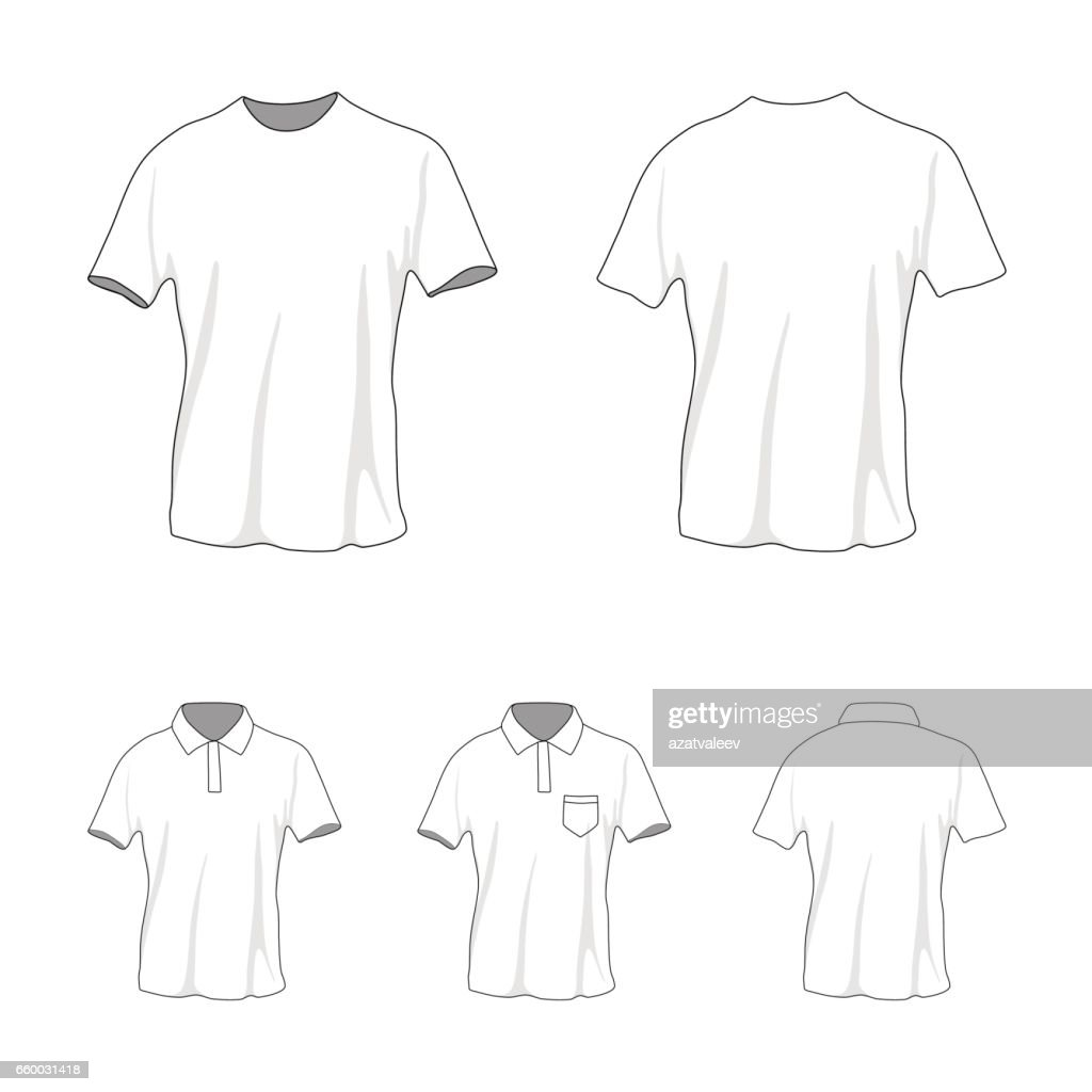 T-shirt polo template set, front and back view