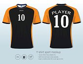 T-shirt sport design for football club, Front and back view soccer jersey uniform, Slim fit apparel mock up, Front and back shots available and easily modify photo file to add logo into your shirt.