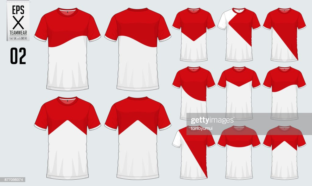 T-shirt sport design for soccer jersey or football kit  template. Football t-shirt mock up. Front and back view soccer uniform. Vector