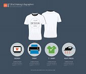 T-shirt sport design, Process infographic with steps or options for your design, Front and back view uniform, Sport slim fit shirts apparel mock up, Easy to modify photo file to add logo to shirt