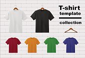 T-shirt template collection wth hangers on white brick wall