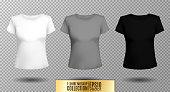 T-shirt template set for men and women, realistic gradient mesh vetor eps10 illustration