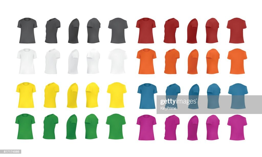 T-shirt template set of different colors, front, side, back, perspective view