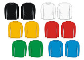 T-Shirt templates long Sleeve colorful