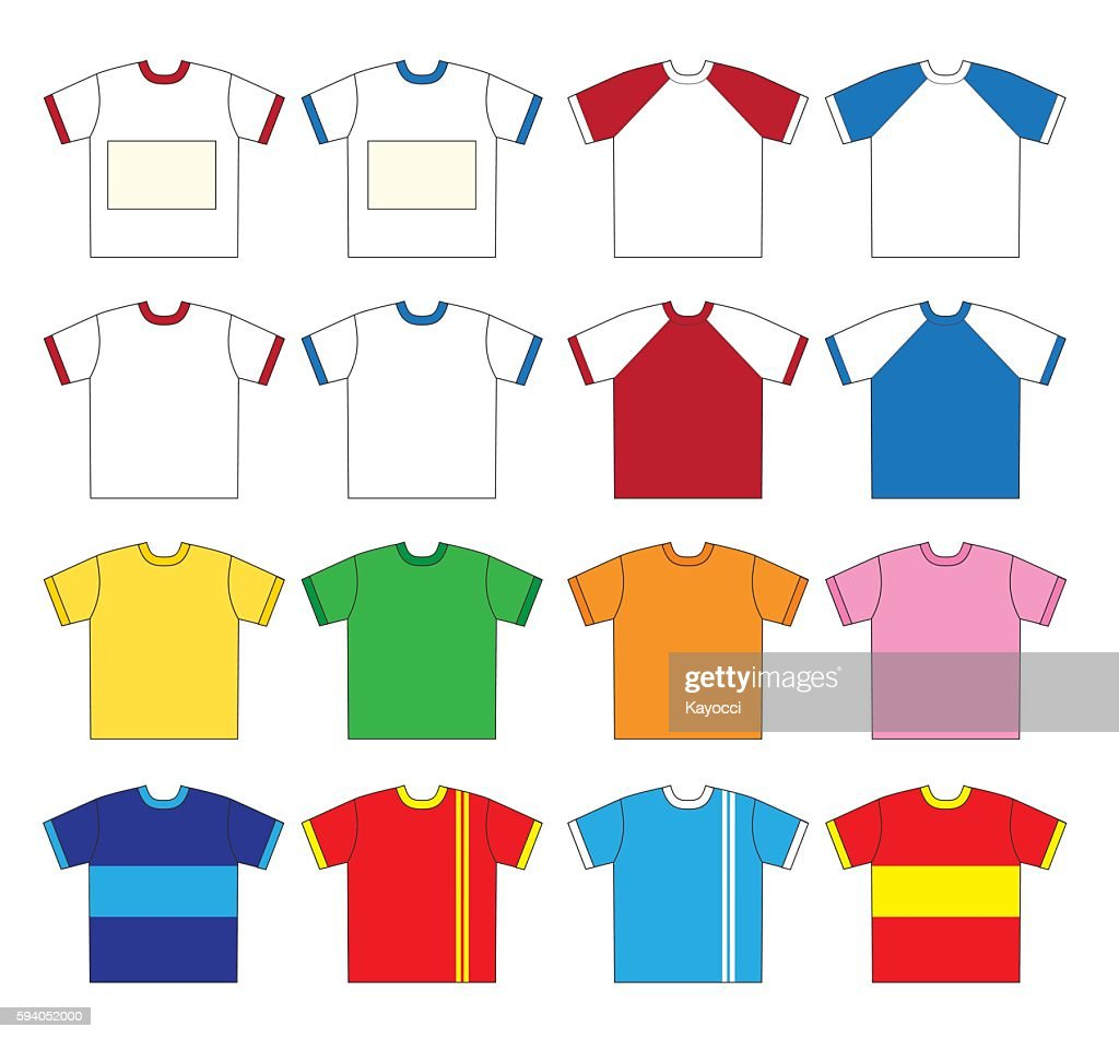 T-shirt vector set (Sixteen type color)