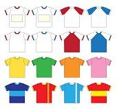 T-shirt vector set (Sixteen type color)