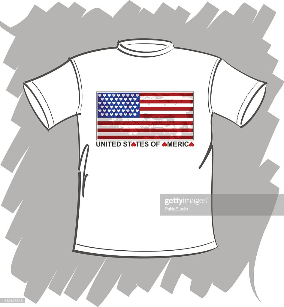 T-shirt white I love USA vector
