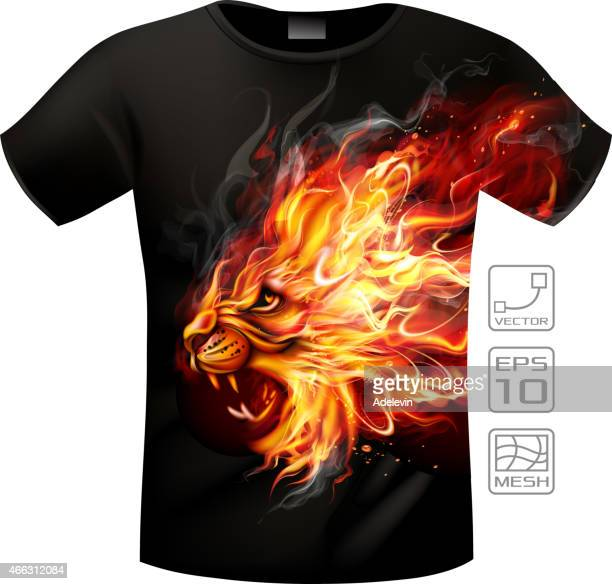 t-shirts fire lion - flare stack stock illustrations, clip art, cartoons, & icons