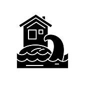 Tsunami black icon, vector sign on isolated background. Tsunami concept symbol, illustration
