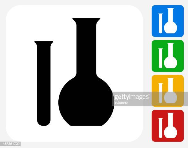 Tube and Flask Icon Flat Graphic Design