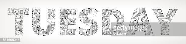 tuesday circuit board vector buttons. - tuesday stock illustrations