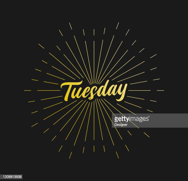 tuesday. sunburst line rays. for greeting card, poster and web banner. vector illustration, design template. - tuesday stock illustrations