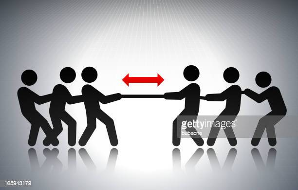 Tug of War Business Concept Stick Figures