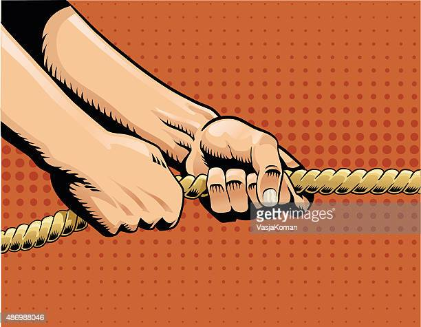 tug of war - hands pulling on rope - rope stock illustrations