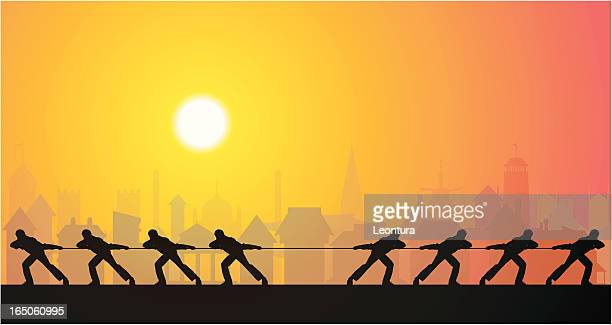 tug of war in town - competitive sport stock illustrations, clip art, cartoons, & icons