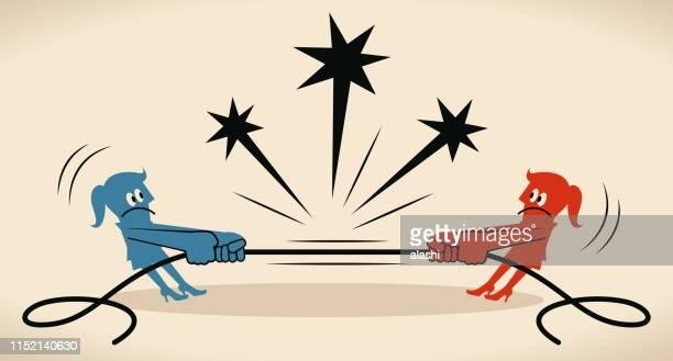 ilustraciones, imágenes clip art, dibujos animados e iconos de stock de tira de la guerra dos mujeres de negocios tirando de la cuerda en direcciones opuestas (su peor enemigo es usted mismo) - uncertainty