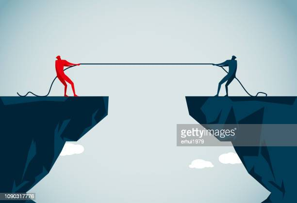 tug-of-war - head above water stock illustrations