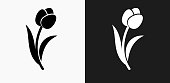 Tulip Icon on Black and White Vector Backgrounds