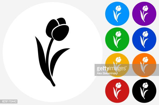Tulip Icon on Flat Color Circle Buttons