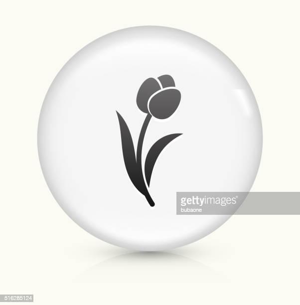 Tulip icon on white round vector button