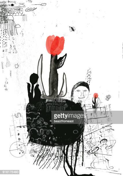 ilustraciones, imágenes clip art, dibujos animados e iconos de stock de tulipanes, nueva vida y crecimiento en la primavera - hormiga