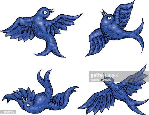 tumbling birds - animal limb stock illustrations, clip art, cartoons, & icons