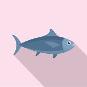 Tuna fish icon, flat style