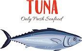 Tuna Fish vector illustration in cartoon style