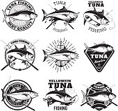 Tuna fishing labels isolated on white background.
