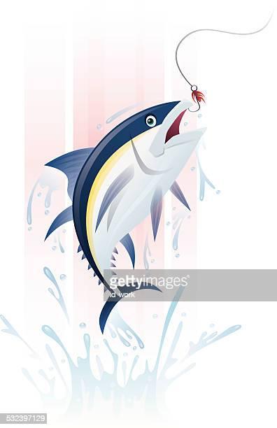 ilustraciones, imágenes clip art, dibujos animados e iconos de stock de la pesca de atunes - bonito del norte