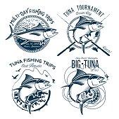 Tuna Vector designs. Sport Fishing Club designs.