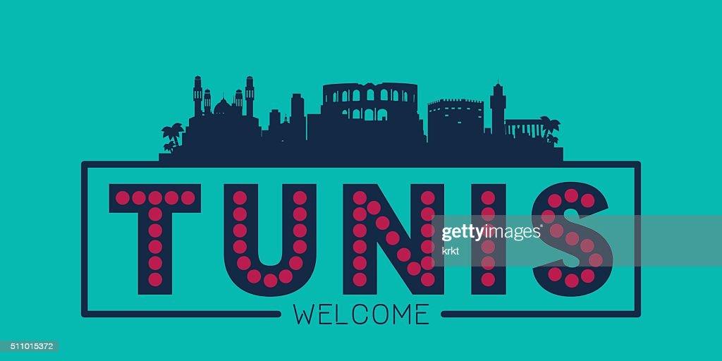 Tunis city skyline typographic illustration