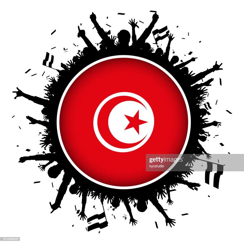 Tunisia Button Flag With Soccer Fans 2018 High Res Vector