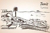 Tunisia coastline resort sketch.
