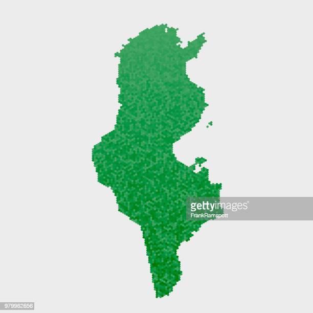 Tunesien-Land-Map-grünen Sechseck-Muster