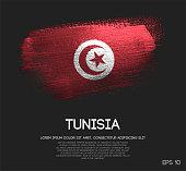 Tunisia Flag Made of Glitter Sparkle Brush Paint Vector