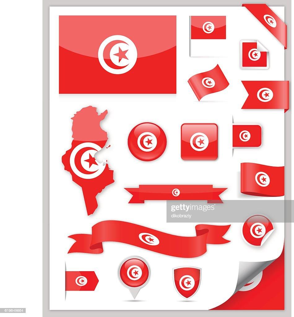 Tunisia Flag Set - Vector Collection