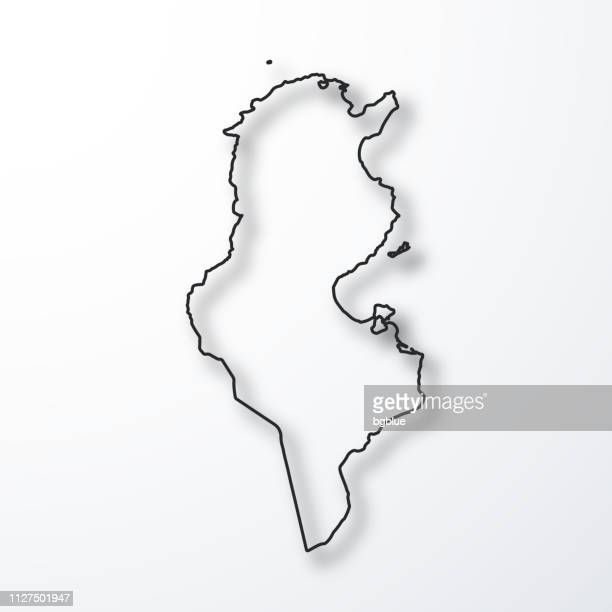 tunisia map - black outline with shadow on white background - tunisia stock illustrations, clip art, cartoons, & icons