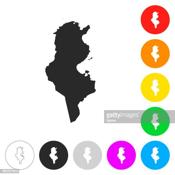 tunisia map - flat icons on different color buttons - tunisia stock illustrations, clip art, cartoons, & icons