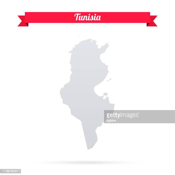 tunisia map on white background with red banner - tunisia stock illustrations, clip art, cartoons, & icons