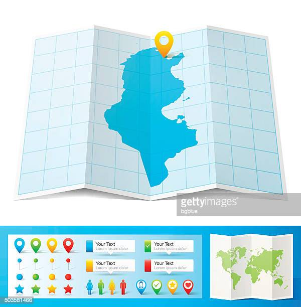 tunisia map with location pins isolated on white background - tunisia stock illustrations, clip art, cartoons, & icons