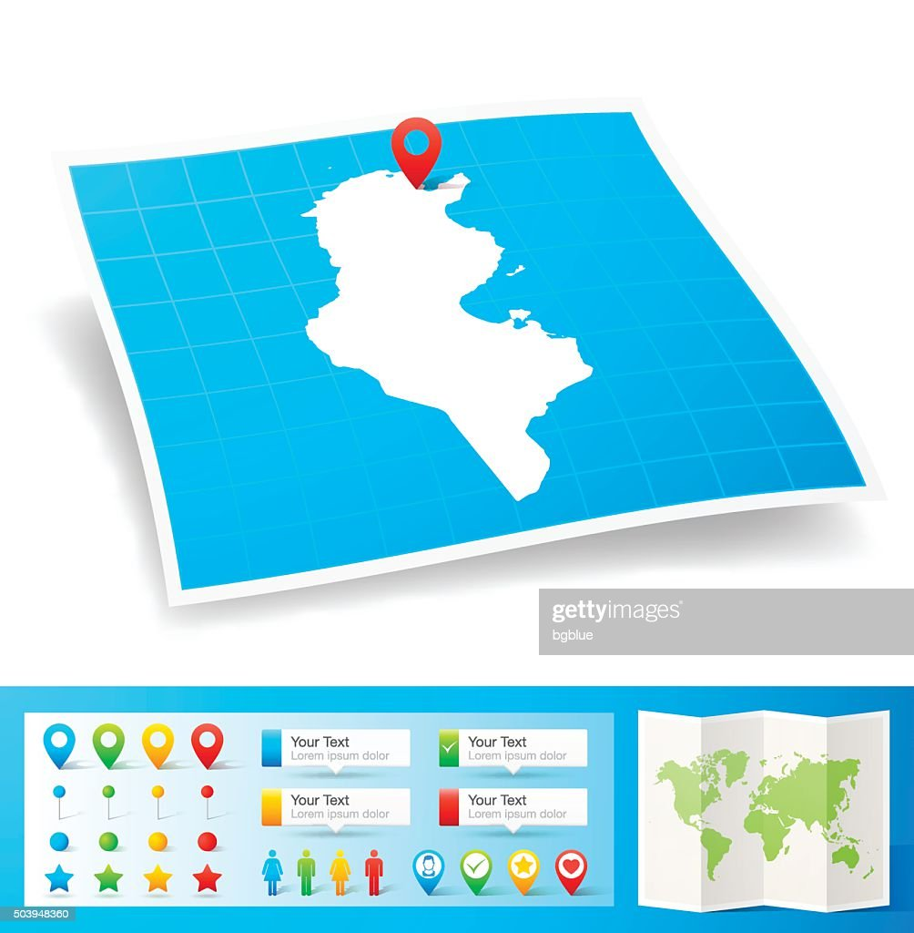 Tunisia Map With Location Pins Isolated On White Background Vector